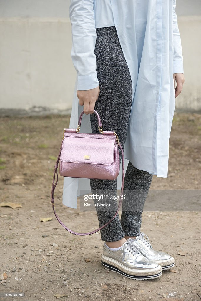 Fashion Blogger Martina Ritter wears a Zara top Prada shoes Dolce and Gabbana bag and Sandro trousers on day 6 during Paris Fashion Week...