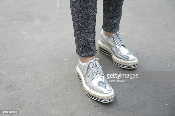 Fashion Blogger Martina Ritter wears Prada shoes and Sandro trousers on day 6 during Paris Fashion Week Spring/Summer 2016/17 on October 4 2015 in...