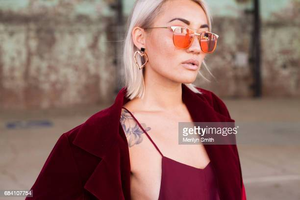 Fashion Blogger Mel Tan wearing all Kaliber a Farrah and Sloane bag and F and H jewellery during MercedesBenz Fashion Week Resort 18 Collections at...