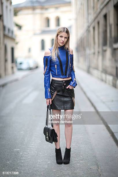 Fashion blogger Meryl Denis is seen wearing a Guy Laroche top a Guy Laroche skirt a Gianfranco Lotti bag and New Look shoes in the streets of Paris...