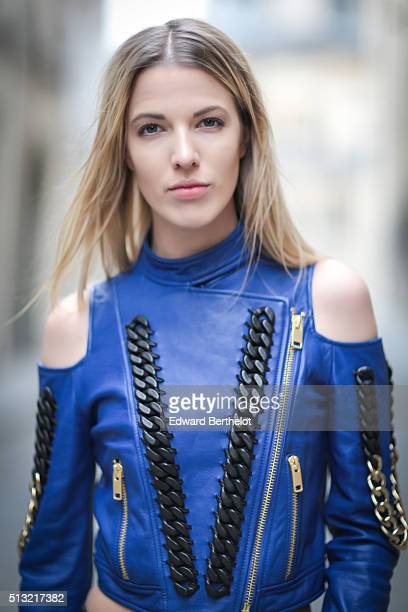 Fashion blogger Meryl Denis is seen wearing a Guy Laroche top in the streets of Paris during the Paris Fashion Week Fall/Winter 2016/2017 on March 1...