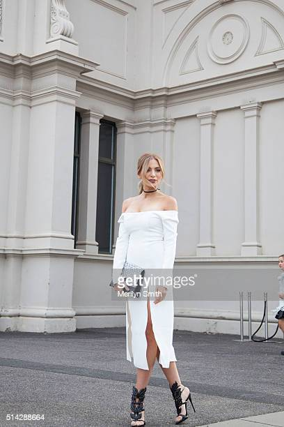 Fashion Blogger Nadia Bartel wearing a Christopher Esber dress during the 2016 Melbourne Fashion Festival on March 7 2016 in Melbourne Australia