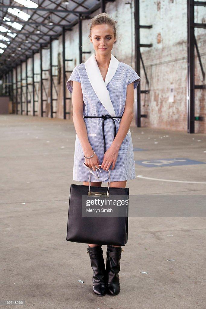 Fashion Blogger Nadia Fairfax wears a Phillip Lim dress Balenciaga bag Givenchy shoes and Le Spec sunglasses at MercedesBenz Fashion Week Australia...