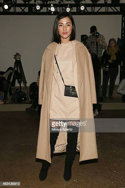 Fashion blogger Nicole Warne attends Dion Lee runway show during MADE Fashion Week Fall 2015 at Milk Studios on February 14 2015 in New York City