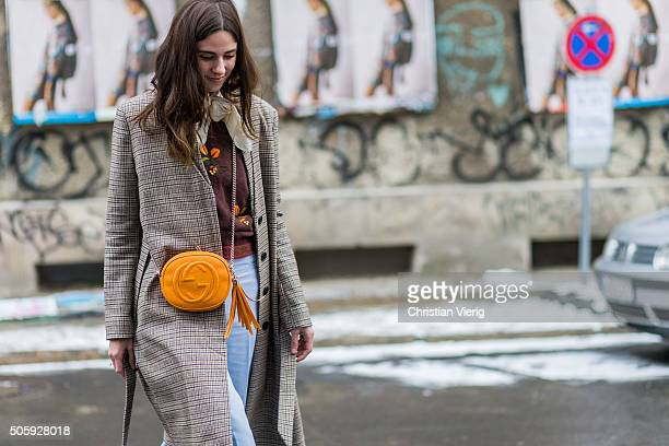 Fashion blogger Nike van Dinther outside Malaikaraiss during the MercedesBenz Fashion Week Berlin Autumn/Winter 2016 at Brandenburg Gate on January...