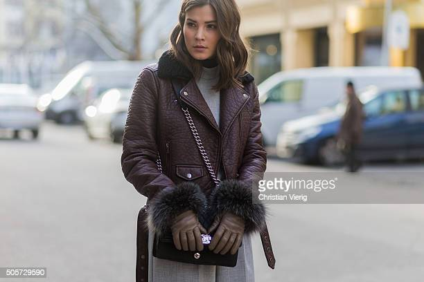 Fashion blogger Nina Schwichtenberg of Fashiioncarpet wearing Gina Tricot jacket River Isalnd jumpsuit Roeckl gloves Chanel bag during the...