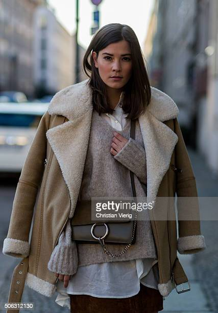 Fashion blogger Nina Schwichtenberg of Fashiioncarpet wearing Zara jacket Edited sweater HM blouse Pepe Jeans skirt Chloe bag and River Island...