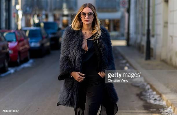 Fashion blogger Nina Suess wearing Dorothee Schumacher Valentino shoes and Gucci sunglasses during the MercedesBenz Fashion Week Berlin Autumn/Winter...