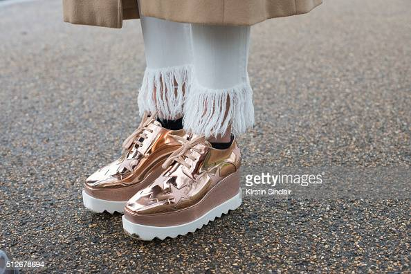 Fashion blogger Nina Suess wears 3x1 trousers and Stella McCartney shoes on day 4 during London Fashion Week Autumn/Winter 2016/17 on February 22...