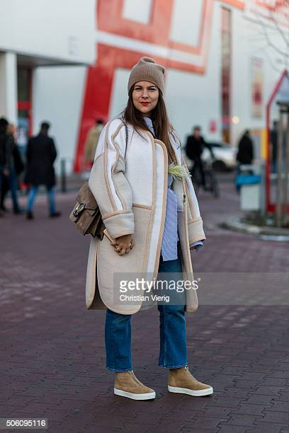 Fashion blogger of Journelles Jessica Weià wearing William Fan shirt outside Perret Schaad during the MercedesBenz Fashion Week Berlin Autumn/Winter...