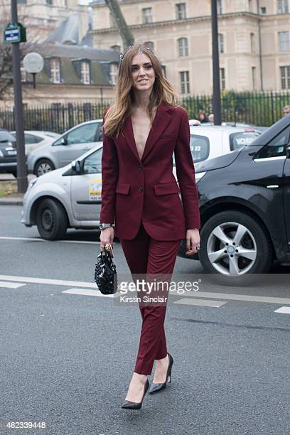 Fashion Blogger of The Blond Salad Chiara Ferragni wears a suit shoes and handbag by Dior on day 2 of Paris Haute Couture Fashion Week Spring/Summer...