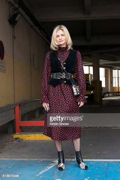 Fashion Blogger Pandora Sykes wears a YSL vintage dress waistcoat and belt vintage Louis Vuitton bag and Karly shoes on day 2 during Paris Fashion...