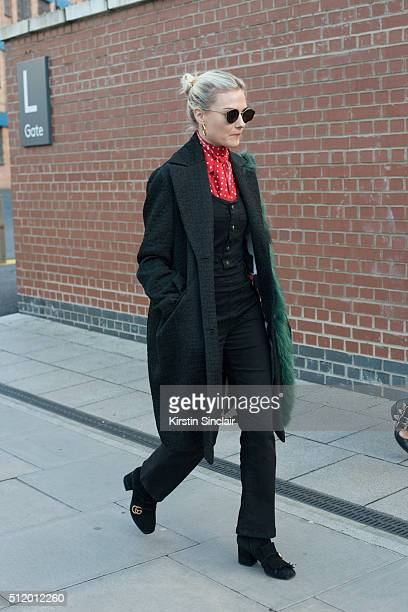 Fashion blogger Pandora Sykes wears Gucci shoes on day 5 during London Fashion Week Autumn/Winter 2016/17 on February 23 2016 in London England