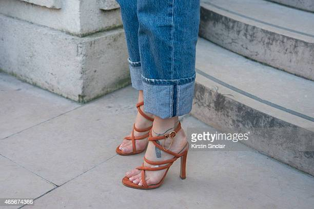 Fashion blogger Pernille Taesbeak wears Chloe shoes at the Chloe show on day 6 of Paris Collections Women on March 08 2015 in Paris France