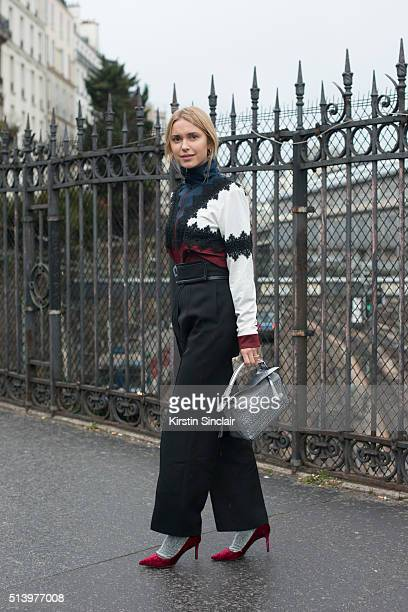 Fashion blogger Pernille Teisbaek on day 2 during Paris Fashion Week Autumn/Winter 2016/17 on March 2 2016 in Paris France Pernille Teisbaek