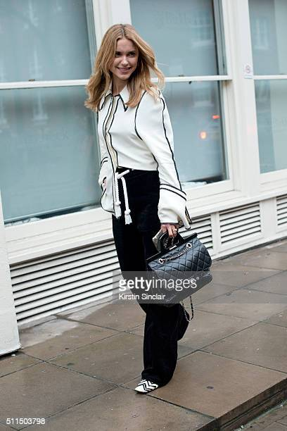 Fashion blogger Pernille Teisbaek wears a JW Anderson shirt and Chanel bag and shoes on day 2 during London Fashion Week Autumn/Winter 2016/17 on...