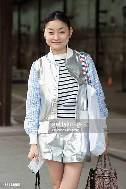Fashion blogger Rei Shito attends MercedesBenz Fashion Week Australia 2014 at Carriageworks on April 7 2014 in Sydney Australia