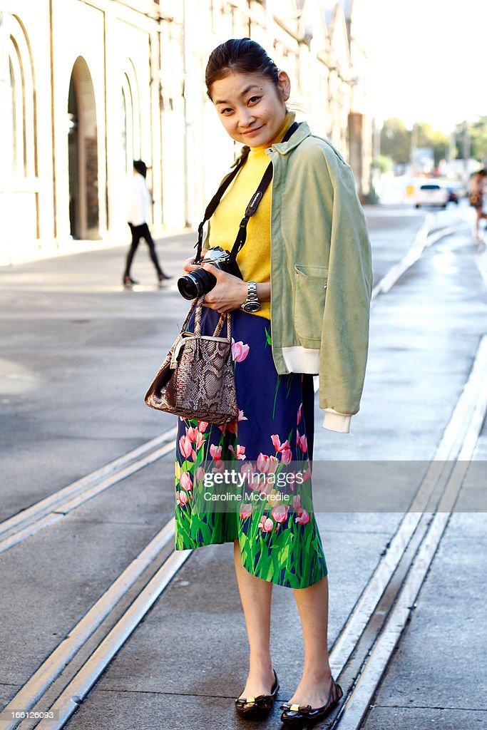 Fashion blogger Rei Shito seen at Mercedes-Benz Fashion Week Australia Spring/Summer 2013/14 at Carriageworks on April 9, 2013 in Sydney, Australia.