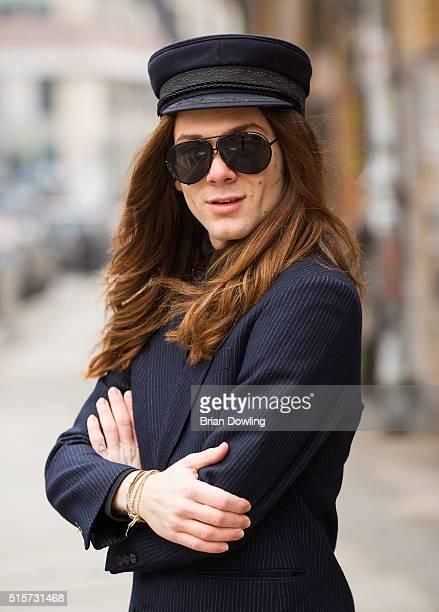 Fashion Blogger Riccardo Simonetti wearing an Ermengildo Zegna blazer Cheap Monday shirt and Porsche Design sunglasses on March 13 2016 in Berlin...