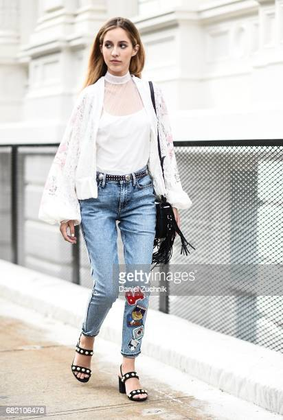 Fashion Blogger Rosa Crespo is seen in Noho wearing an Allen Schwartz shirt Guess jeans Lanyu Couture jacket Gucci shoes and Salar Milano bag on May...