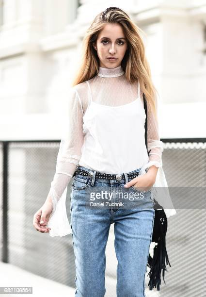 Fashion Blogger Rosa Crespo is seen in Noho wearing an Allen Schwartz shirt Guess jeans Lanyu Couture jacket and Salar Milano bag on May 11 2017 in...