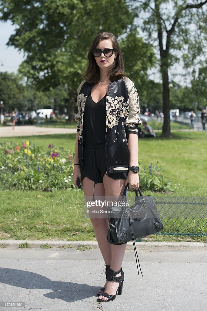 Fashion Blogger Rose Fondorsen wears a Balenciaga bag, Prada sunglasses, Zara top and jacket and Alexander Wang shoes on day 2 of Paris Collections: Womens Haute Couture on July 02, 2013 in Paris, France.