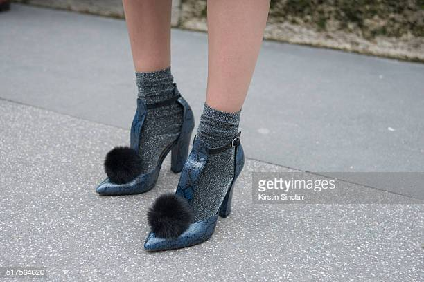 Fashion Blogger Sandra Kleine Staarman wears a Asos shoes on day 4 during Paris Fashion Week Autumn/Winter 2016/17 on March 4 2016 in Paris France...