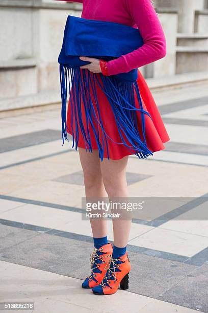 Fashion blogger Sandra Kleine Staarman wears a Benetton sweater Asos dress and bag and Kat Maconie shoes on day 3 during Paris Fashion Week...