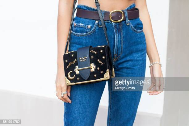 Fashion Blogger Sarah Ellen wearing a Prada bag and Nobody jeans during MercedesBenz Fashion Week Resort 18 Collections at Carriageworks on May 18...