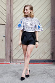 Fashion Blogger Sarah Mikaela wears an Alice McCall top and shorts and Zomp shoes at MercedesBenz Fashion Week Australia 2015 at Carriageworks on...