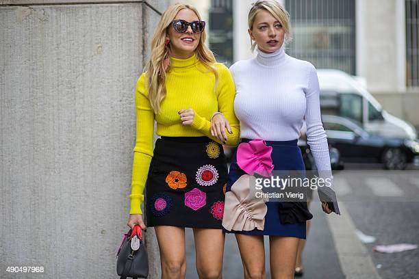 Fashion blogger Shea Marie and Caroline Vreeland wear MSGM Fashion Week Spring/Summer 16 on September 27 2015 in Milan Italy