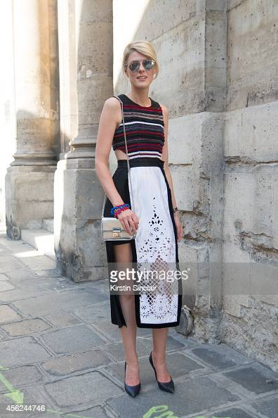 Fashion Blogger Sofie Valkiers is wearing a Dior bag and sunglasses Louis Vuitton shoes and Natargeorgio dress on day 5 of Paris Collections Women on...
