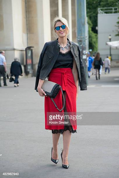 Fashion Blogger Sofie Valkiers wearing a Chanel bag Christian Loboutin shoes Barbour jacket Spektre sunglasses and Kalmoanouch top and skirt day 3 of...