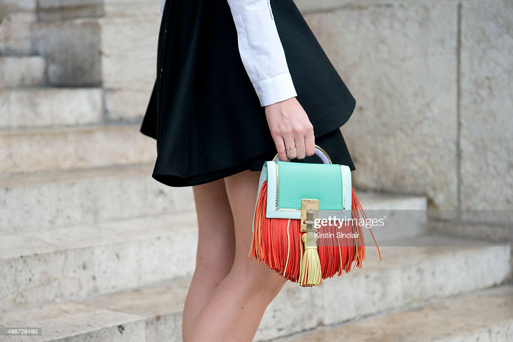 Fashion Blogger Sofie Valkiers wears a Dior dress shirt and Louis Vuitton bag on day 7 during Paris Fashion Week Spring/Summer 2016/17 on October 5...