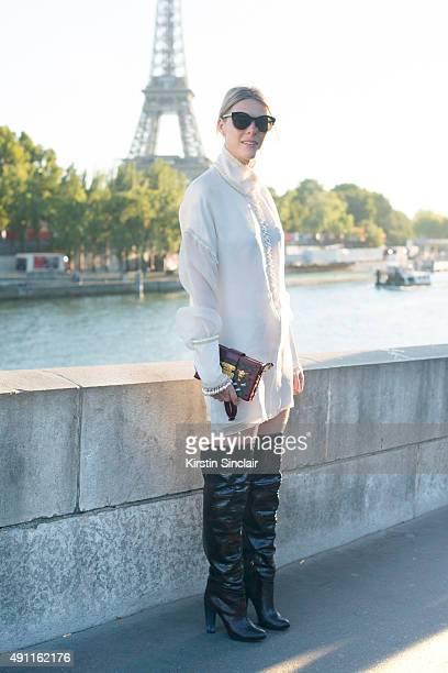 Fashion Blogger Sofie Valkiers wears a Sandra Mansour dress Louis Vuitton bag Aperlai shoes and Dior sunglasses on day 2 during Paris Fashion Week...