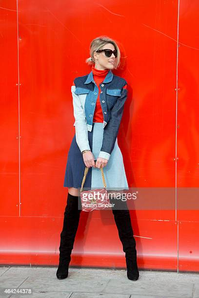 Fashion blogger Sofie Valkiers wears a Timur Kim Studio jacket and skirt an American Apparel top Celine sunglasses Jimmy Choo boots and an LV bag on...