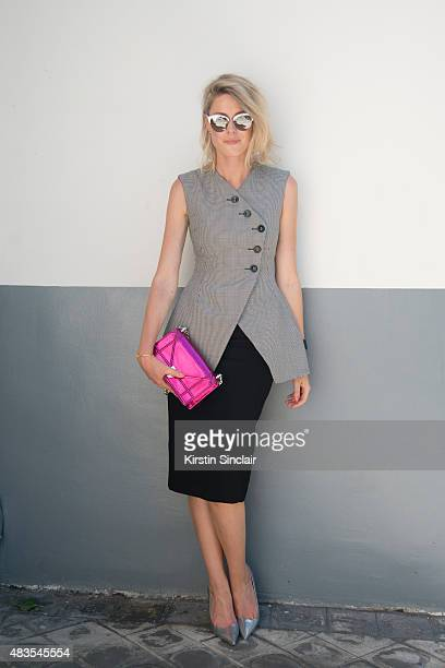 Fashion Blogger Sofie Valkiers wears all Dior on day 2 of Paris Fashion Week Haute Couture Autumn/Winter 2015 on July 6 2015 in Paris France