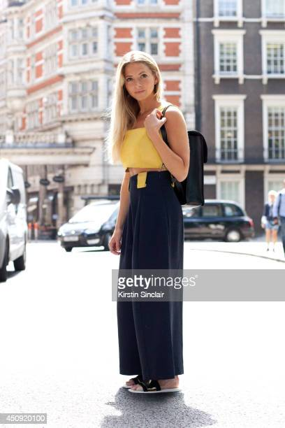 Fashion Blogger Sophia Marinho de Lemos wears Zara sandals Fleming London backpack and Paper London top and culottes on day 3 of London Collections...