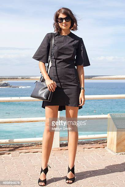 Fashion Blogger Talisa Sutton wears a Georgia Alice dress Celine bag Aquazzura shoes and Triwa sunglasses at MercedesBenz Fashion Week Australia 2015...