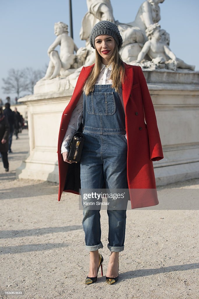 Fashion blogger Talita Silverberg wears Louboutin shoes, Villa skirt, Alexander Wang bag, Top Shop Dungarees and a Massimo Dutti jacket on day 4 of Paris Womens Fashion Week Autumn/Winter 2013 on March 03, 2013 in Paris, France.
