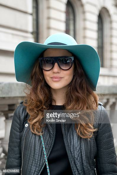 Fashion Blogger Tamara Kalinic wears a Chanel bag Celine sunglasses Maison Michel hat and a Maje jacket on day 3 of London Collections Women on...