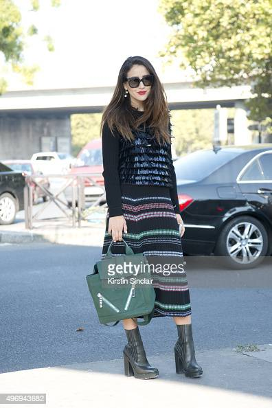 Fashion Blogger Tamara Kalinic wears all Kenzo and Celine sunglasses on day 6 during Paris Fashion Week Spring/Summer 2016/17 on October 4 2015 in...