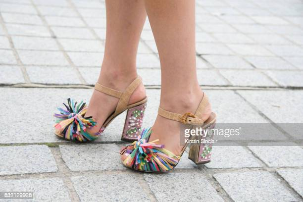 Fashion blogger Tamara Kalinic wears Dolce Gabanna shoes day 2 of Paris Haute Couture Fashion Week Autumn/Winter 2017 on July 3 2017 in Paris France