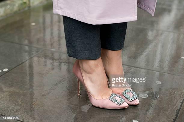 Fashion Blogger Tamara Kalinic wears Manolo Blahnik shoes on day 2 during London Fashion Week Autumn/Winter 2016/17 on February 20 2016 in London...