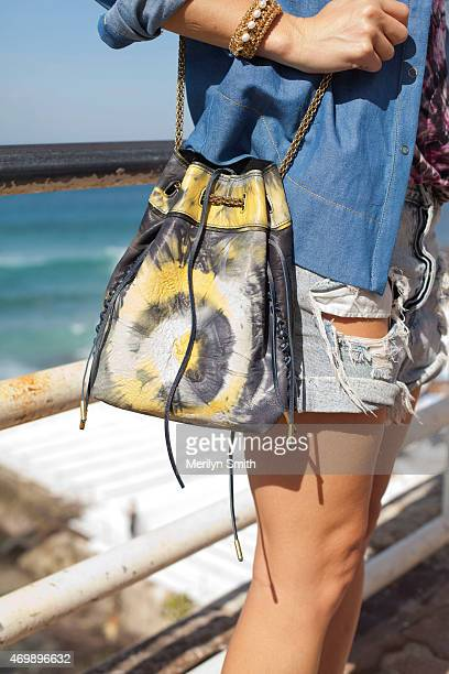 Fashion Blogger Tanja Gacic bag detail wears One Teaspoon shorts Proenza Schouler tshirt Bec and Bridge shirt Jerome Dreyfus bag at MercedesBenz...