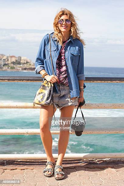 Fashion Blogger Tanja Gacic wears Giambattista slides One Teaspoon shorts Proenza Schouler tshirt Bec and Bridge shirt Jerome Dreyfus bag and Rayban...