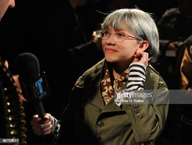 Fashion blogger Tavi Gevinson interviews backstage at the Y3 Autumn/Winter 2010 Fashion Show during MercedesBenz Fashion Week at the Park Avenue...