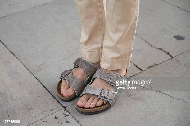 Fashion blogger Thomas Reichegger wears Birkenstock shoes on day 3 of Paris Collections Men on June 26 2015 in Paris France