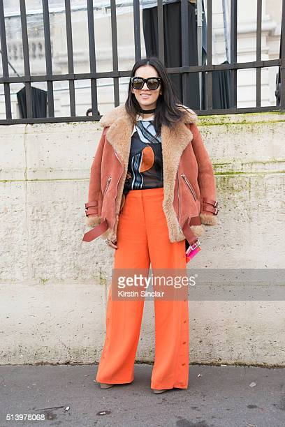 Fashion blogger Tina Leung wearing all Acne on day 5 during Paris Fashion Week Autumn/Winter 2016/17 on March 5 2016 in Paris France