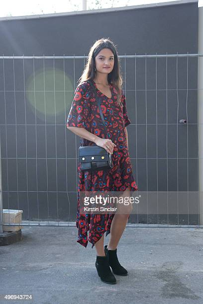 Fashion Blogger Tiphaine Albert wears all Kenzo and vintage shoes on day 6 during Paris Fashion Week Spring/Summer 2016/17 on October 4 2015 in Paris...
